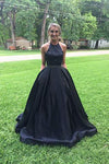 A line Halter Navy Blue Beads Prom Dresses with Pockets Long Evening Dresses JS566