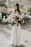 A line Ivory Long Sleeve Wedding Dresses Lace High Neck Wedding Gowns PW495