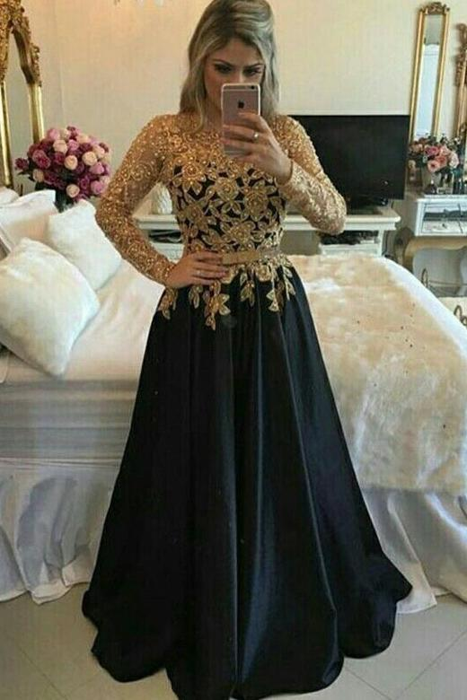 A line Lace Black Puffy Pearls Gold Evening Dresses Long Sleeve Appliques Prom Dresses JS664