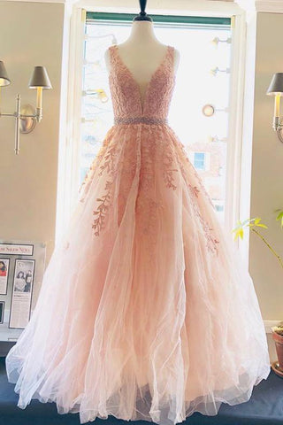 A line Lace V Neck Pink Prom Dresses with Appliques Long Cheap Evening Dresses JS730