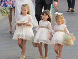 A line Long Sleeve Lace Flower Girl Dresses Above Knee Scoop Bowknot Baby Dress