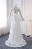 A line Long Sleeve V Neck Lace Ivory Wedding Dresses V Neck Beach Bridal Dresses W1010