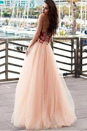 A line Pink Red Lace Appliques Prom Dresses Strapless Tulle Long Evening Dresses JS535