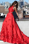 A line Red Halter Satin Prom Dresses Sleeveless Appliques Dance Dresses JS713