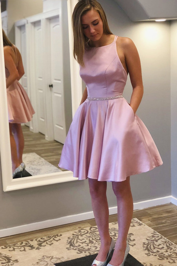 A line Round Neck Criss-Cross Straps Short Homecoming Dress with Beads Pockets H1290