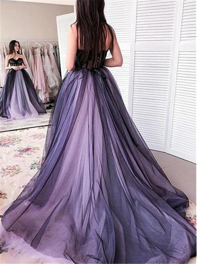 A line Sweetheart Strapless Tulle Sleeveless Lilac Prom Dresses With Appliques Formal Dress JS462