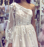 A line Tulle One Shoulder Prom Dresses with Sleeves 3D Flowers Evening Dress JS523
