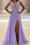 A line Tulle V Neck Pink Prom Dresses Long Backless Evening Dresses JS588
