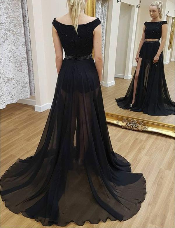 A line Two Piece Detachable Black Prom Dresses Sequin Short Sleeves Chiffon Formal Dress JS461