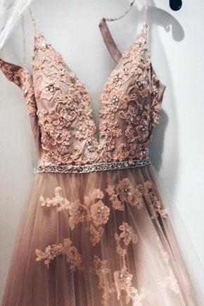 A line V Neck Lace Appliques Pink Spaghetti Straps Tulle Prom Dresses Formal Dresses JS768