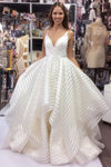 A line V Neck Spaghetti Straps Prom Dresses With Ruffles Long Wedding Dresses