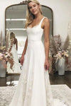 A line White Satin Wedding Dresses with Tulle Appliques Spaghetti Straps Bridal Dress JS719