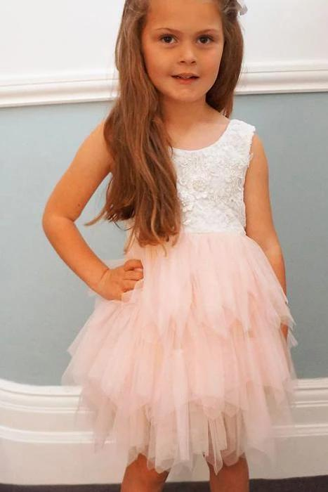 Adorable A-line Knee length Pink Tulle Little Flower Girl Dress with Lace Party Dress