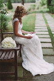 Sexy V Neck Back Hole Full Lace Mermaid Ivory Wedding Dresses,Bridal Dresses PW326