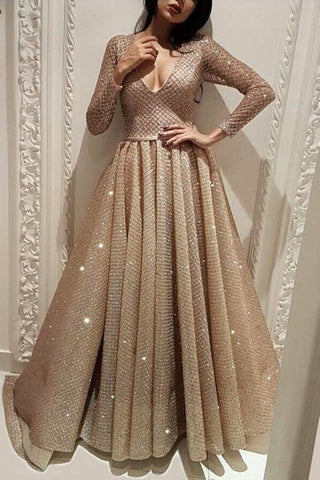 Long Sleeve A Line V Neck Gold Sequins Long Floor Length Prom Dresses JS53