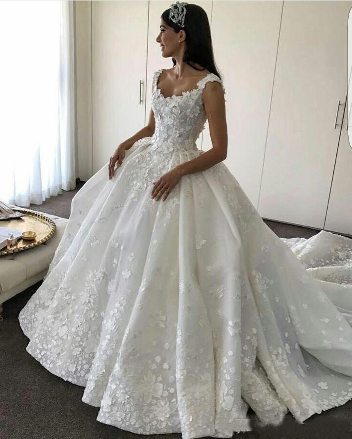 Ball Gown Backless Lace Appliques Wedding Dresses Sweetheart Bridal Dresses