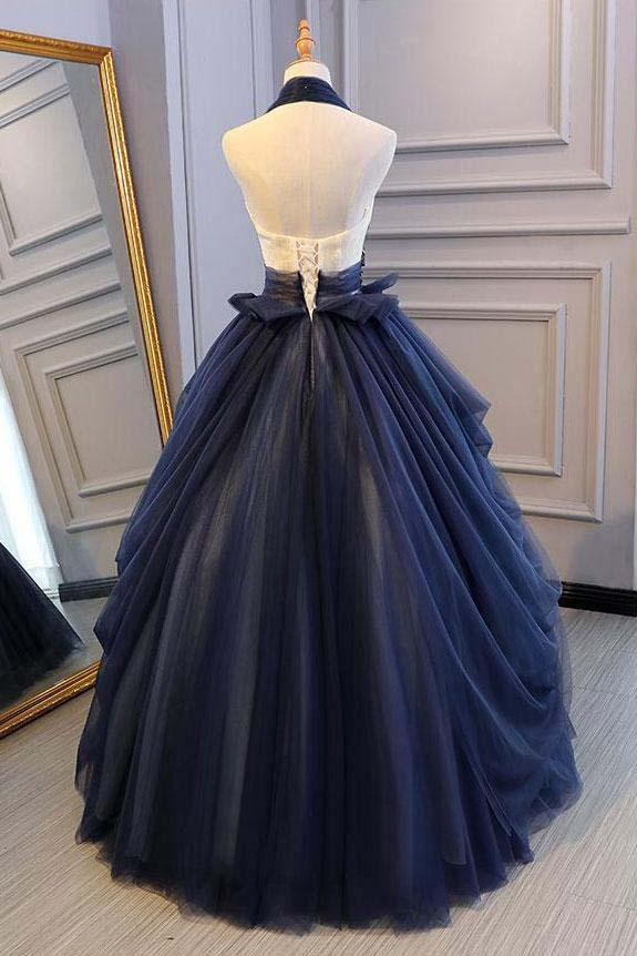 Ball Gown Blue Tulle Lace Long Prom Dresses Deep V Neck Backless Evening Dresses JS469