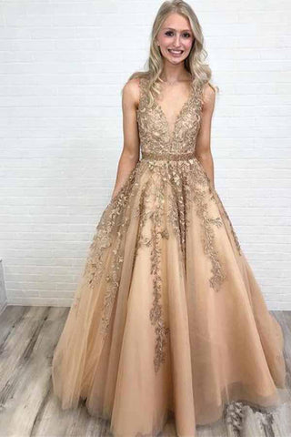 Ball Gown Gold Lace Long Prom Dresses with Appliques V Neck Tulle Evening Dresses JS589
