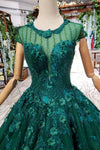 Ball Gown Green Court Train Scoop Lace Appliques Cap Sleeves Lace up Prom Dresses JS787