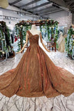 Ball Gown Long Prom Dresses, One Shoulder Lace up Sequins Beads Quinceanera Dress PW969