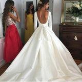 Ball Gown Long Sleeve Backless Ivory Wedding Dresses Long Cheap Bridal Dresses