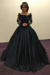 Ball Gown Long Sleeves Navy Blue With Lace Prom Dress Quinceanera Dresses JS450