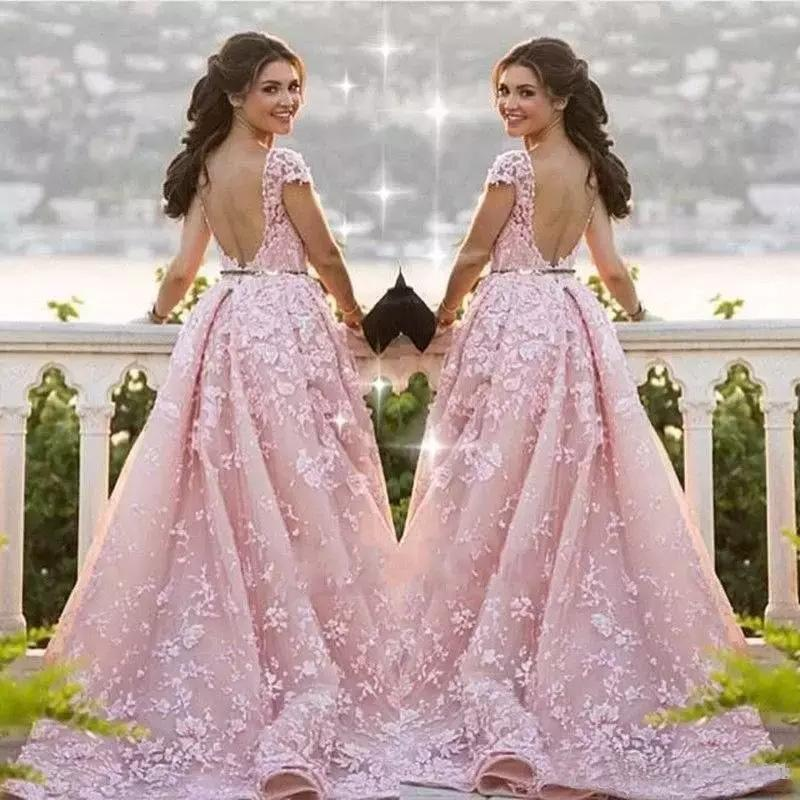 Ball Gown Mermaid Pink Lace Appliques Tulle Cap Sleeve Backless Prom Dresses JS761