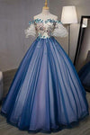 Ball Gown Off the Shoulder Short Sleeve Lace up Sweetheart Prom Dresses with Appliques PW991