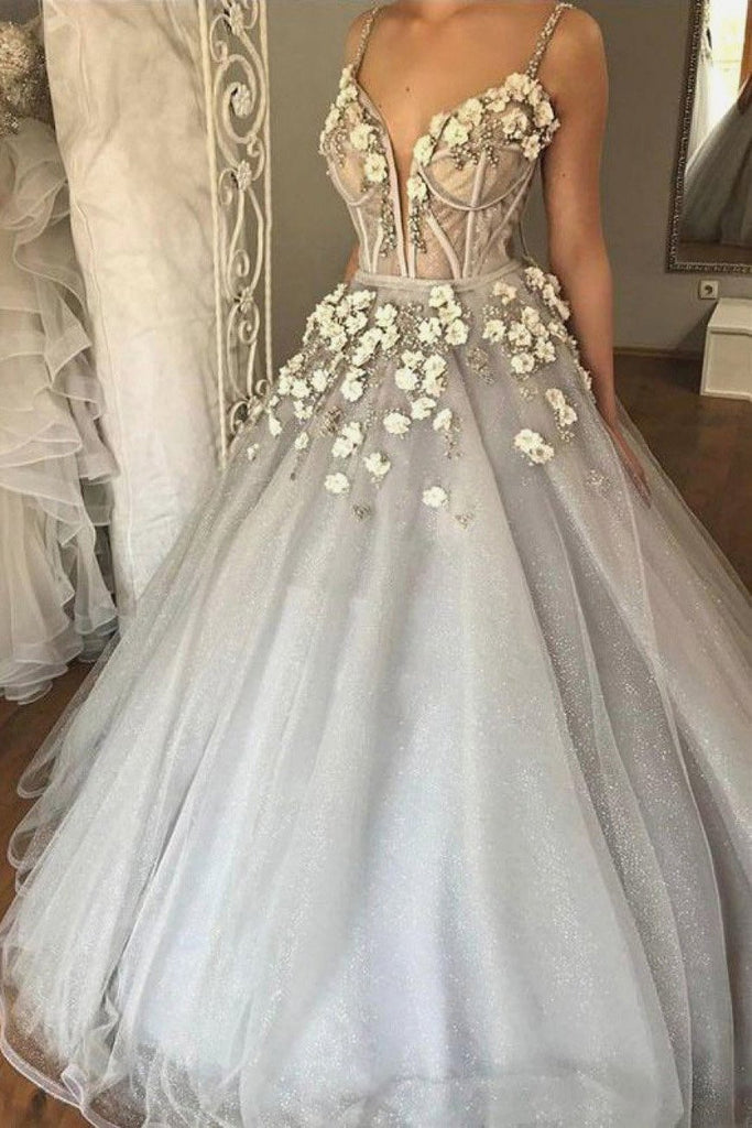 Ball Gown Spaghetti Straps V Neck Silver 3D Floral Beads Prom Dresses Dance Dresses JS717