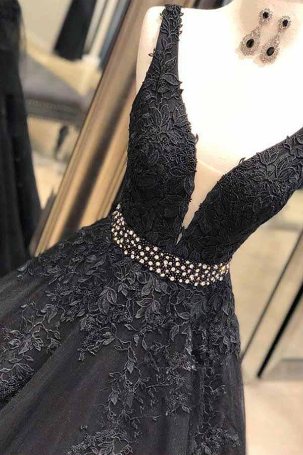 Ball Gown Straps Black V Neck Lace Appliques Prom Dresses Beads V Back Dance Dress JS709