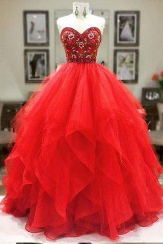 Ball Gown Sweetheart Strapless Embroidery Red Prom Dresses Long Party Dresses JS364