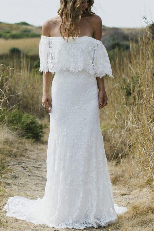 Beach Wedding Dresses Half Sleeve Off the Shoulder Lace Sexy Simple Boho Bridal Gowns W1029