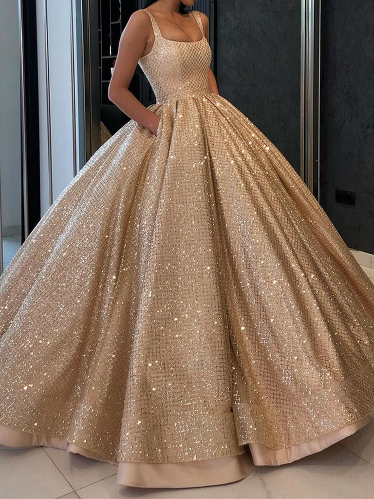 Ball Gown Prom Dress with Pockets Beads Sequins Floor-Length Gold Quinceanera Dresses