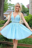 Blue Tulle Lace Appliques Short Prom Dress Beads Open Back Homecoming Dresses H1013