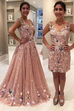 Blush Pink Tulle Beading Lace Appliques Prom Dresses Long Cheap Evening Dresses JS609