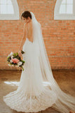 Bohemian Spaghetti Straps Sweetheart Mermaid Lace Backless Wedding Dresses W1006