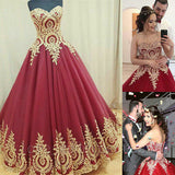Charming Strapless Sweetheart Ball Gown Sexy Appliques Long Backless Prom Dresses JS193