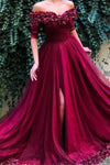 Burgundy Off the Shoulder Maroon Long Prom Dresses Short Sleeves Slit Formal Dress PW468