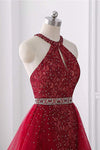 Burgundy Short Lace Beaded Halter Backless Evening Prom Dresses Homecoming Dresses H1173