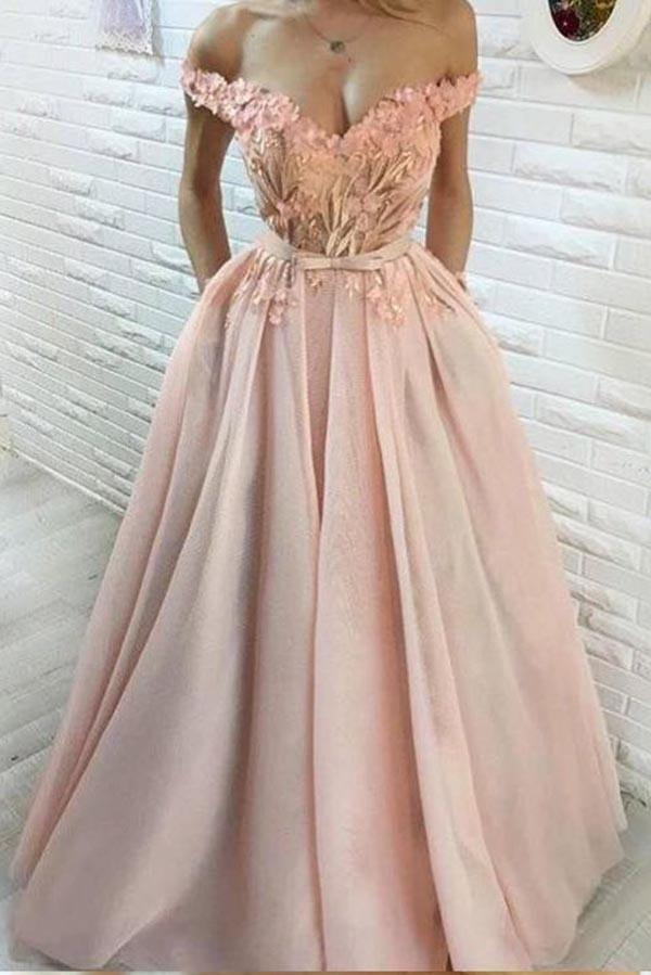 A line Off the Shoulder Sweetheart Hand Made Flowers Prom Dresses with Pockets PW291