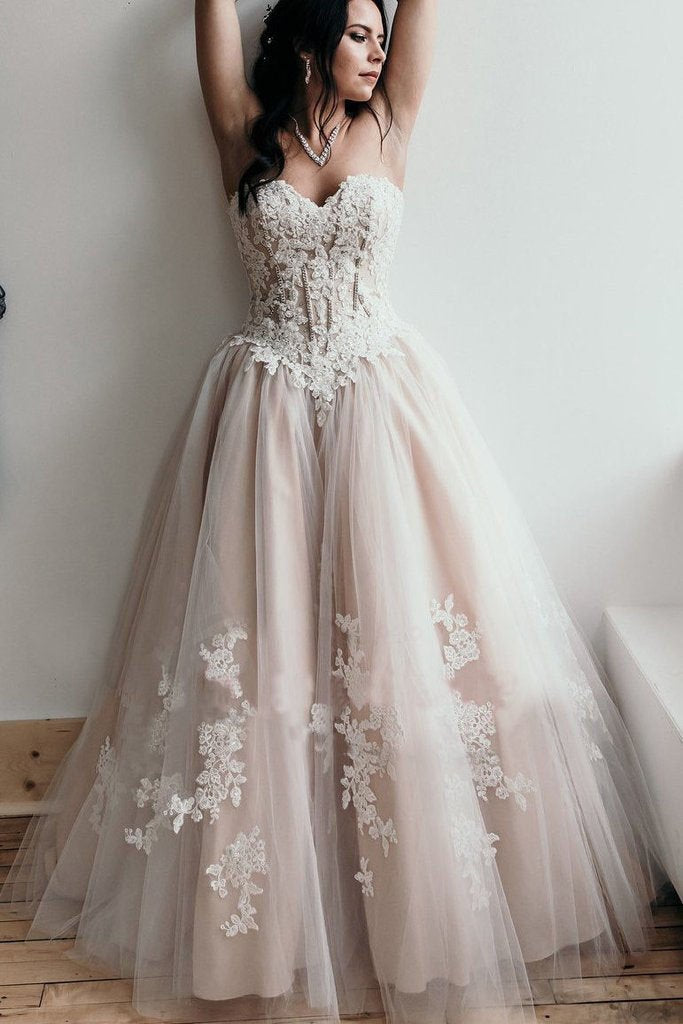 A Line Sweetheart Lace Appliques Strapless Long Prom Dresses Sexy Evening Dresses JS292