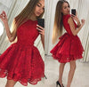 Cap Sleeve Red Lace Above Knee Scoop Homecoming Dresses Graduation Dresses H1235