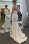 Charming Irregular Strapless Satin Wedding Gown Mermaid Backless Wedding Dresses W1039