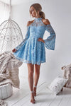 Charming Long Sleeve Blue Lace Halter Homecoming Dresses Sweet 16 Dresses H1267