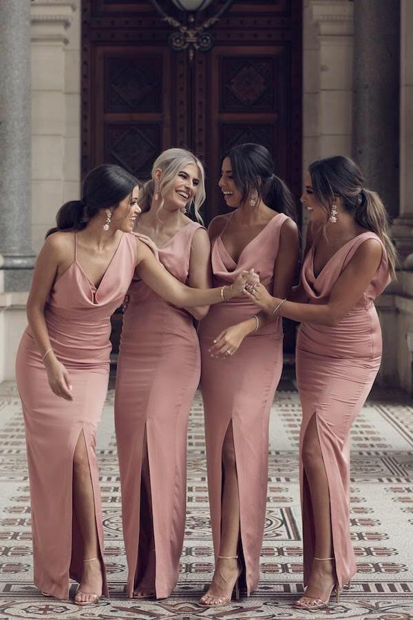 Charming Sheath V Neck Prom Dresses Slit Pink Long Bridesmaid Dresses JS515