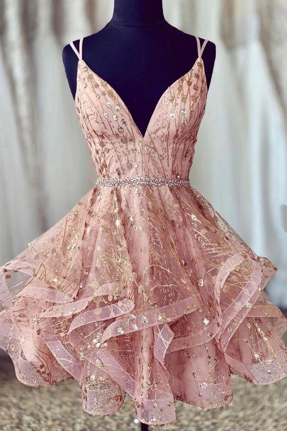 Cheap A Line Spaghetti Straps Lace up V Neck Pink Homecoming Dress with Sequins H1277