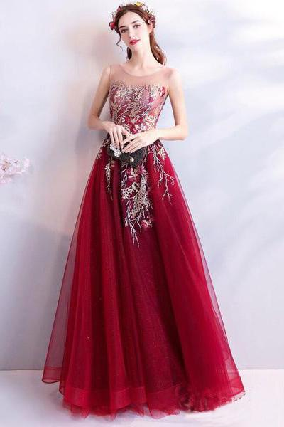 Cheap Burgundy Long Prom Dresses Lace Applique Military Ball Gown Formal Dress JS424