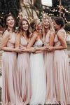 Cheap Long Chiffon Blush Pink Bridesmaid Dresses Convertible Open Back Maxi Dress BD1004