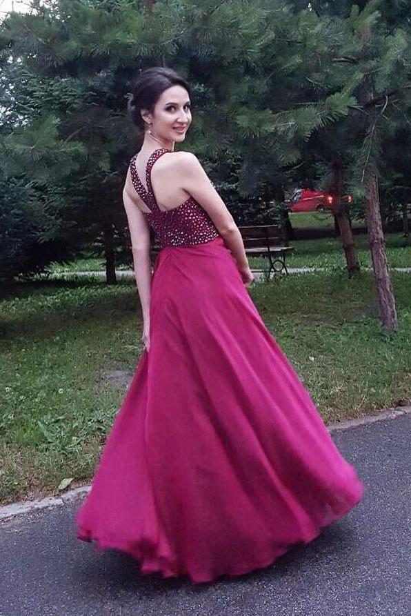 Chic A-line Halter Flowy Prom Dresses, Long Beads Chiffon Sleeveless Evening Dresses PW413