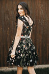 Chic Black Lace Flowers Cap Sleeves Homecoming Dress Unique Graduation Dress H1308